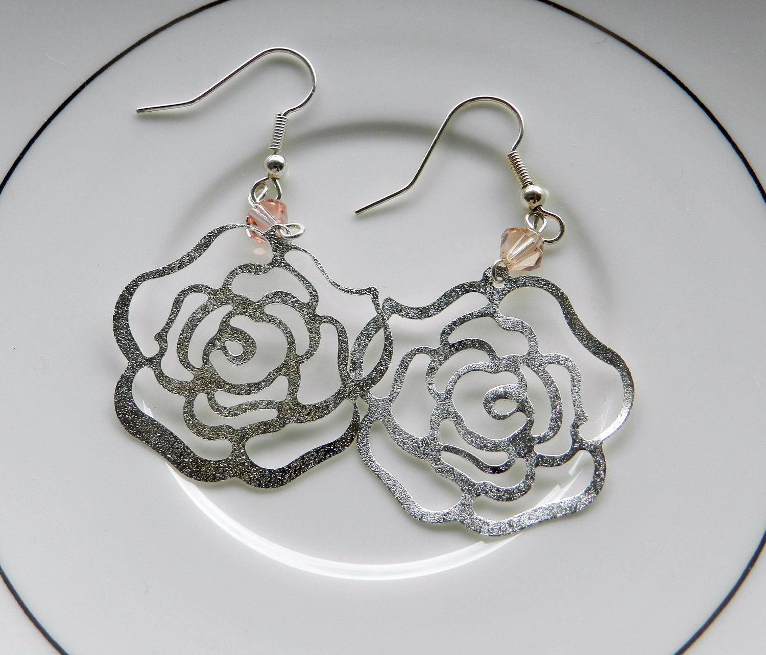 Sterling silver earrings. Filigree rose dangly earrings