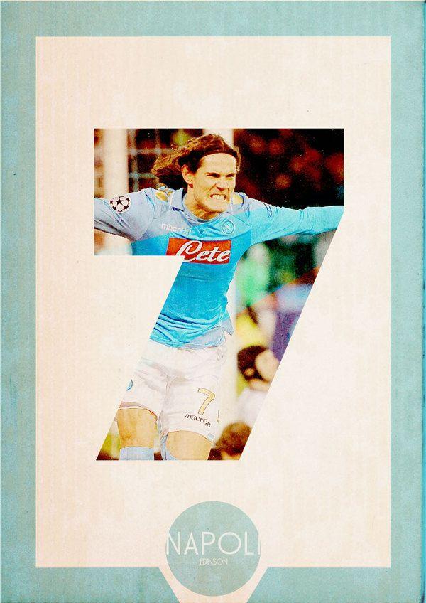 Edinson Cavani, uruguayan football player & Poster retro (Serie A) by Michele Lorenzo Crippa, via Behance.