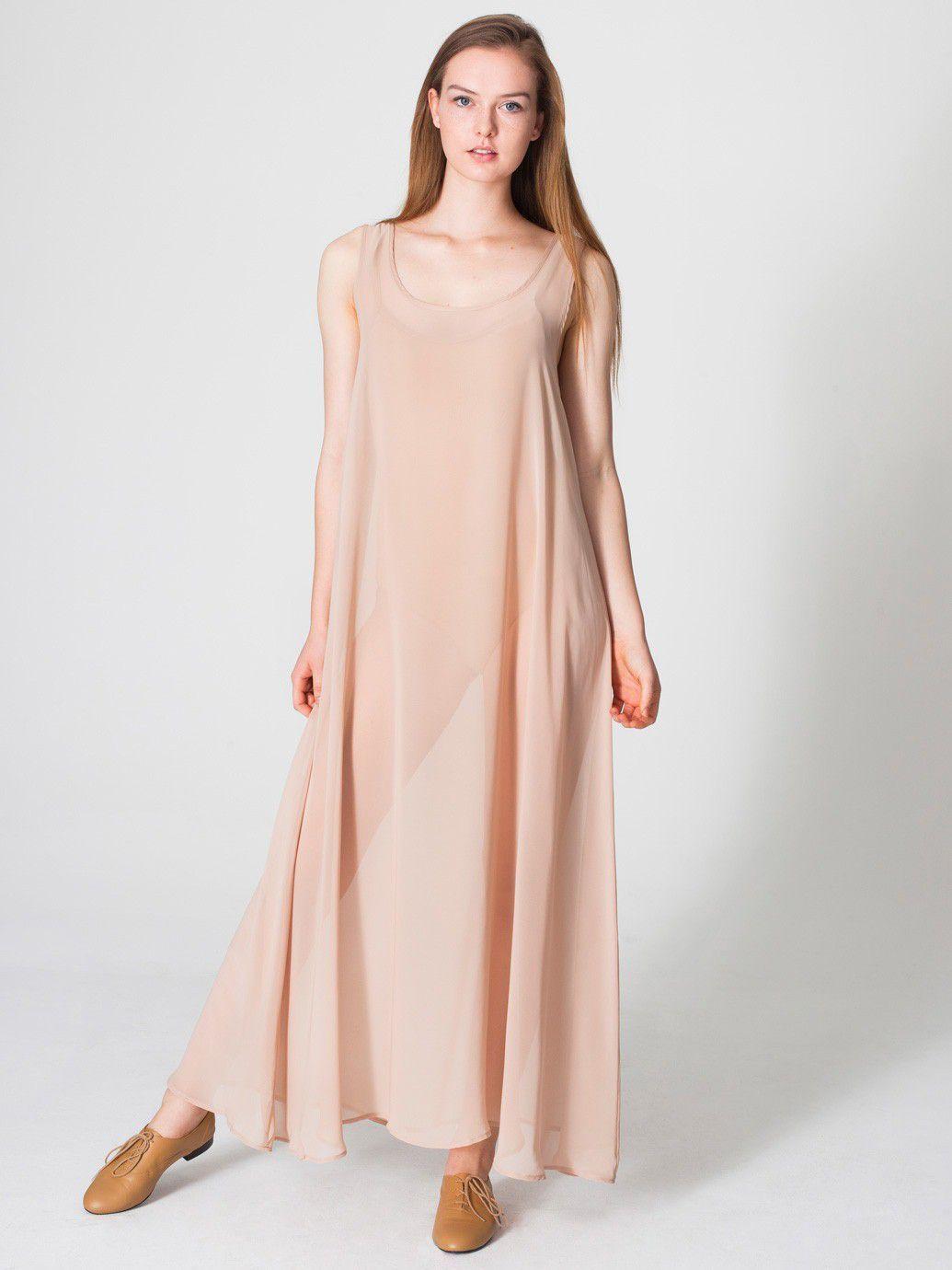 American Apparel Tan Chiffon Sheer Scoop Neck Women Loose Fit Long Maxi Dress Os Long Maxi Dress A Line Maxi Dress Dresses [ 1380 x 1035 Pixel ]