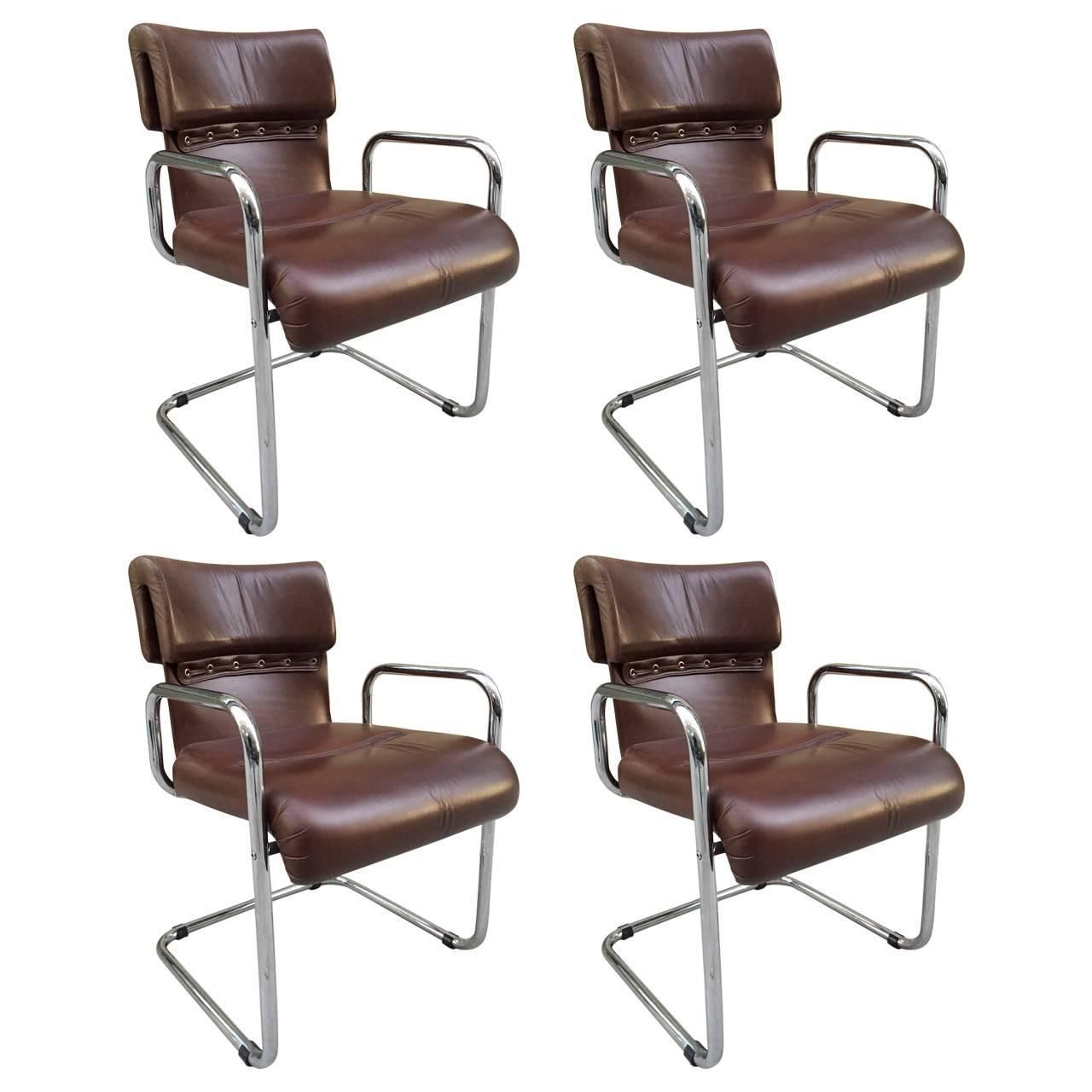Four Leather Chairs by Guido Faleschini for Mariani/Pace Collection ca.1970's