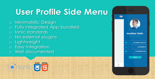 cool Ionic User Profile Side Menu Plugin with Complete