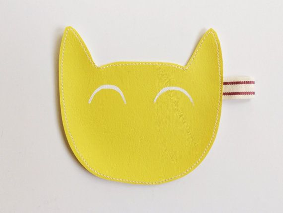 Kitty coin purse in yellow MADE TO ORDER by littlebrightstudio