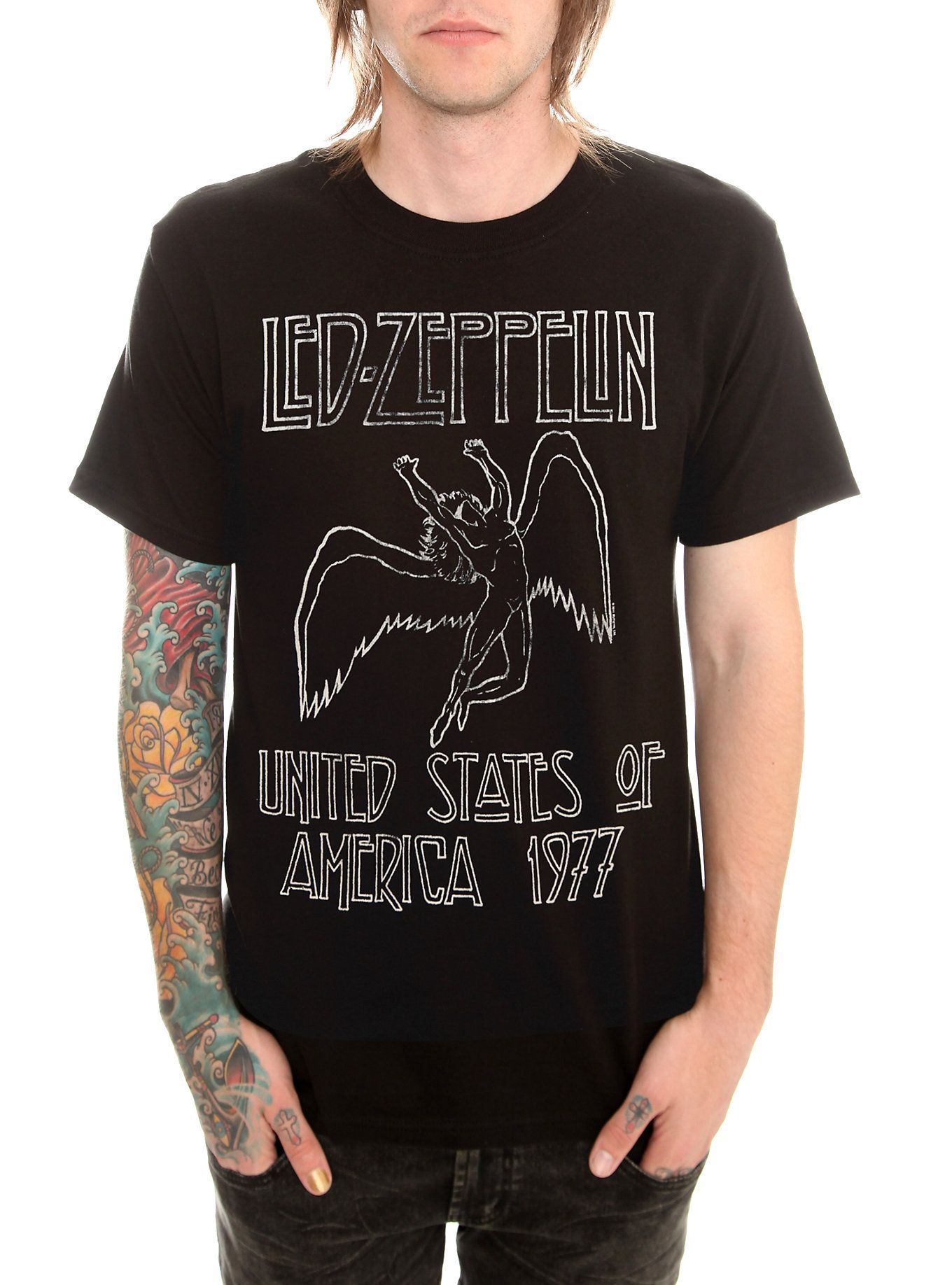 T black shirt rock - Led Zeppelin 1977 T Shirt Hot Topic