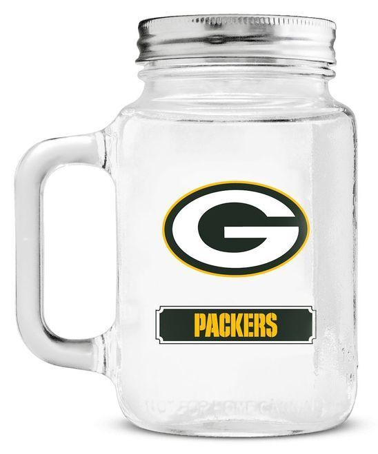 Green Bay Packers Mason Jar Glass With Lid Z157-9413101815