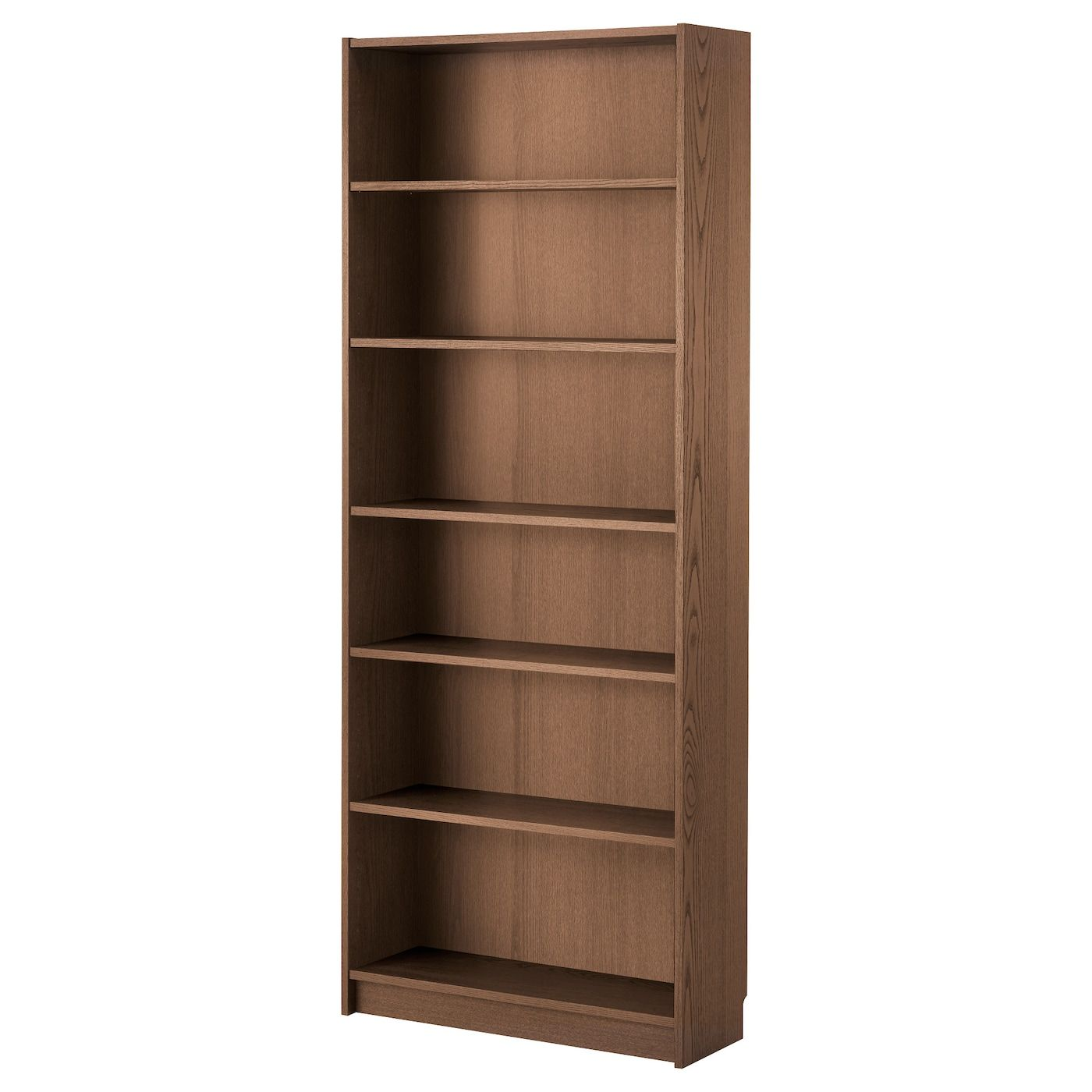 IKEA BILLY, Bookcase, brown ash veneer, , Narrow shelves