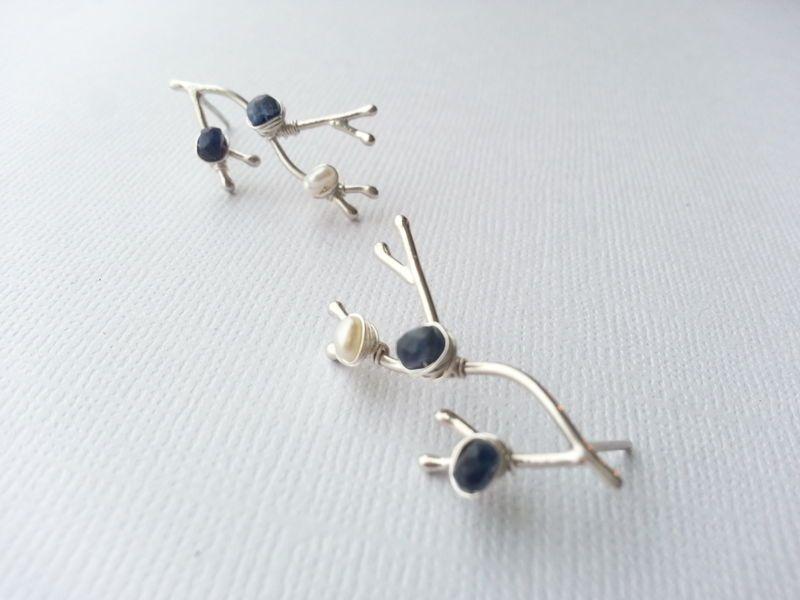 Custom Birthstone Branches Earrings,  Argentium Sterling Silver and Gemstones