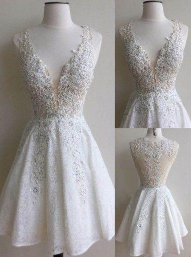 af7486303 Vestido-Blanco con encaje y escote