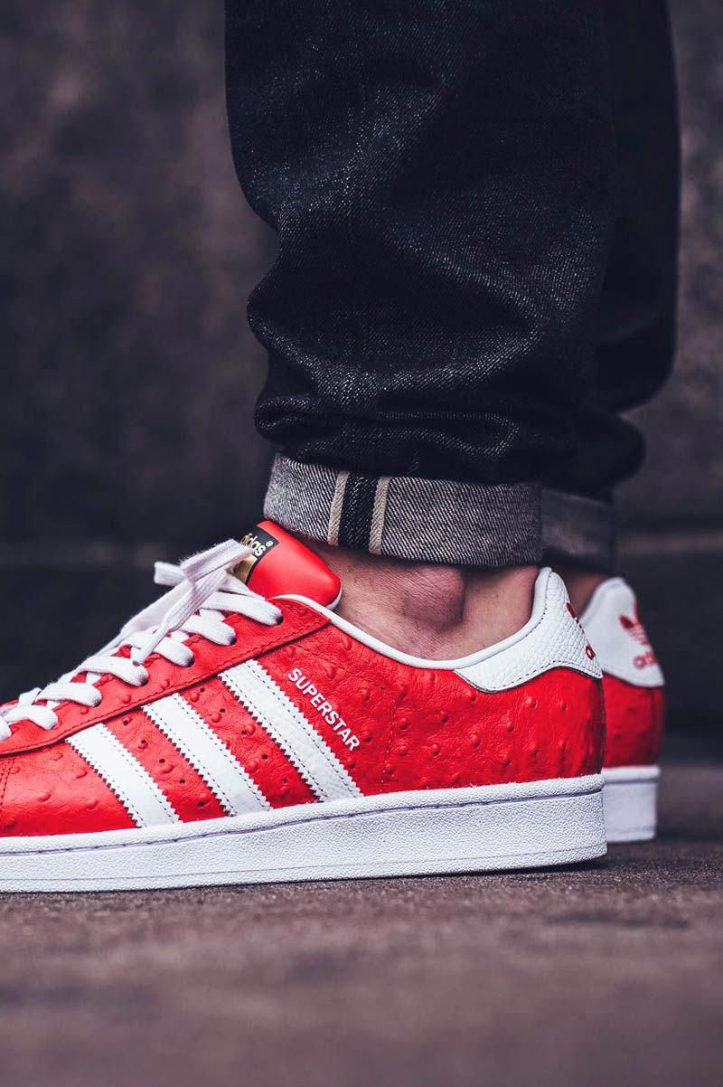 outlet store 83ae2 9393c adidas Originals Superstar Animal  Red White Gold  Sneakers