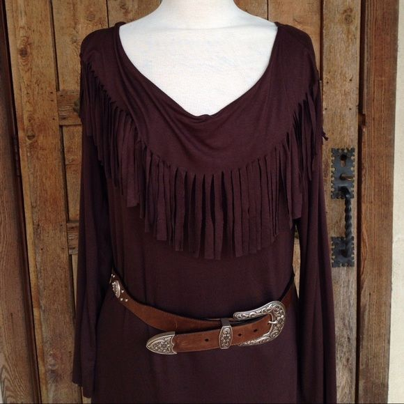 Mesa FRINGE DRESS in Brown Slip over your head, Wear belted or unbelted, can also wear off the shoulder, Sz L Rancho Estancia Dresses Midi