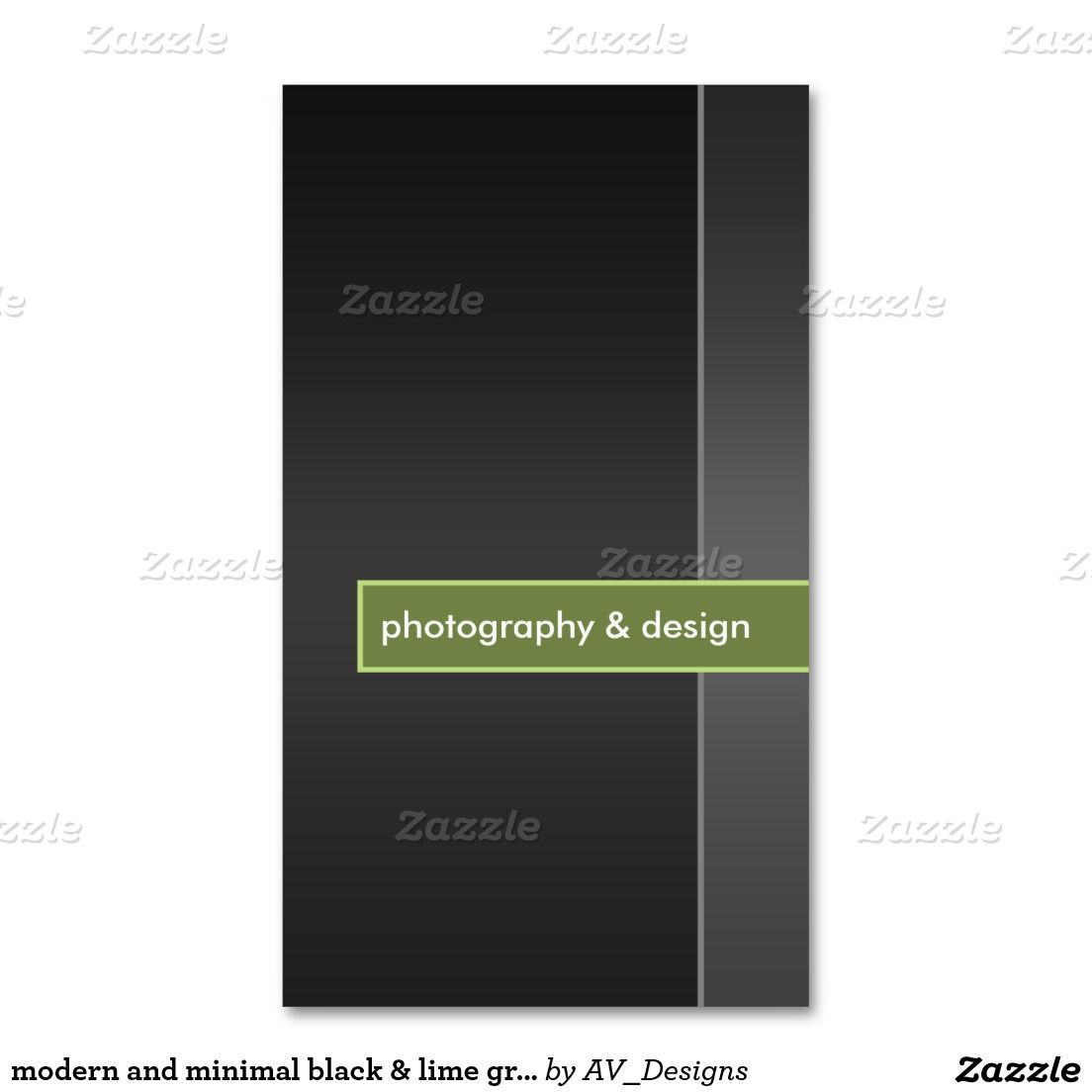 Modern And Minimal Black Lime Green Photography Business Card