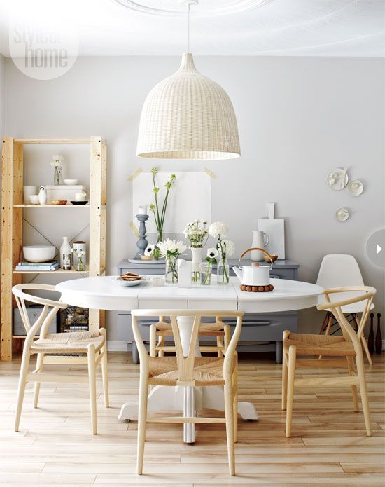 Wishbone Chairs With Pedestal Table