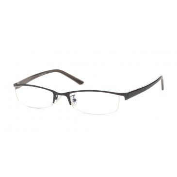 a2c7e3da45d7 Semi-rimless eyeglasses frame, black color, oval eye shape. Lightweight and  durable