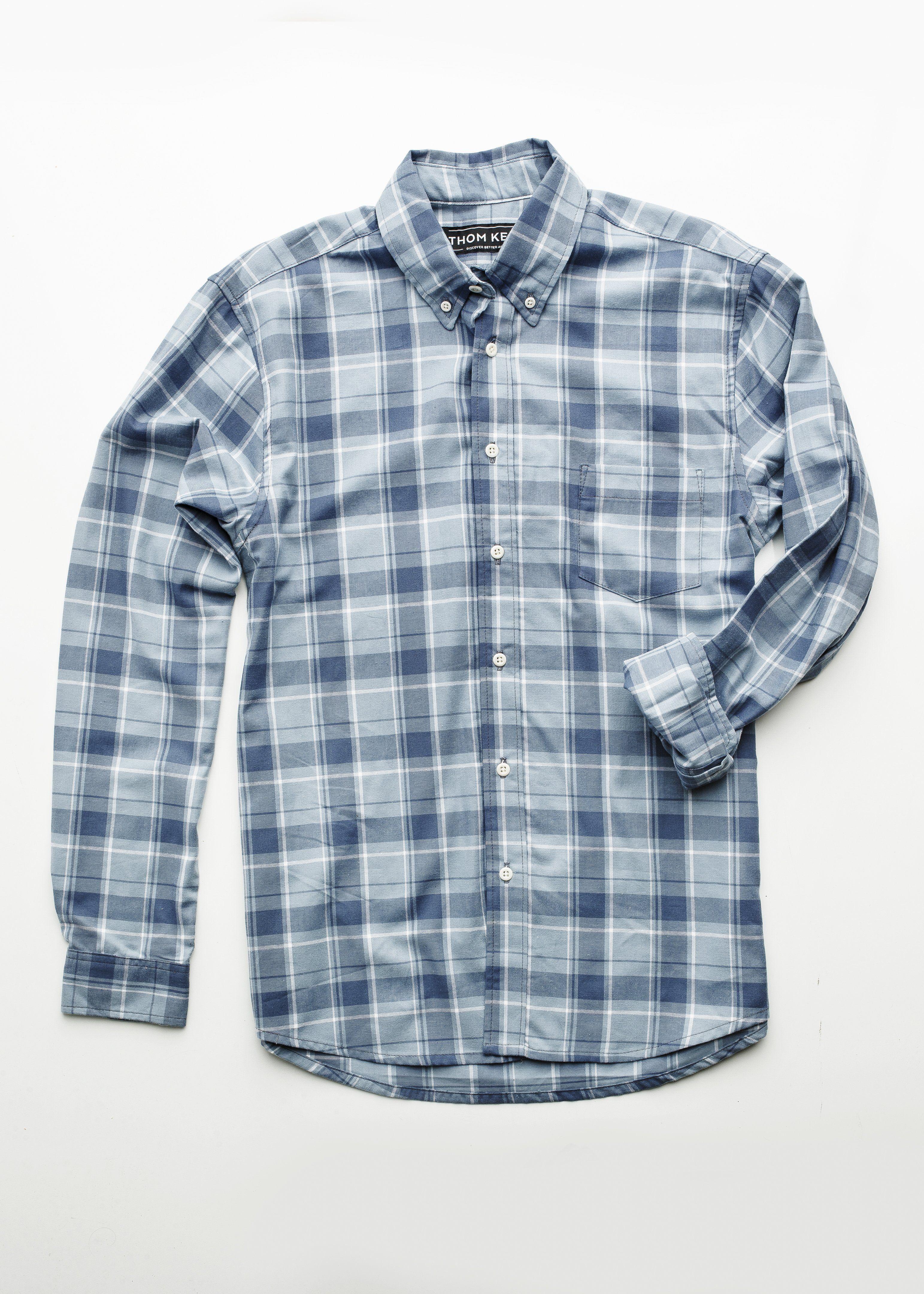 Dress up flannel shirt  Menus axel shirt  smoke u slate blue plaid  THOM KELLY  Now
