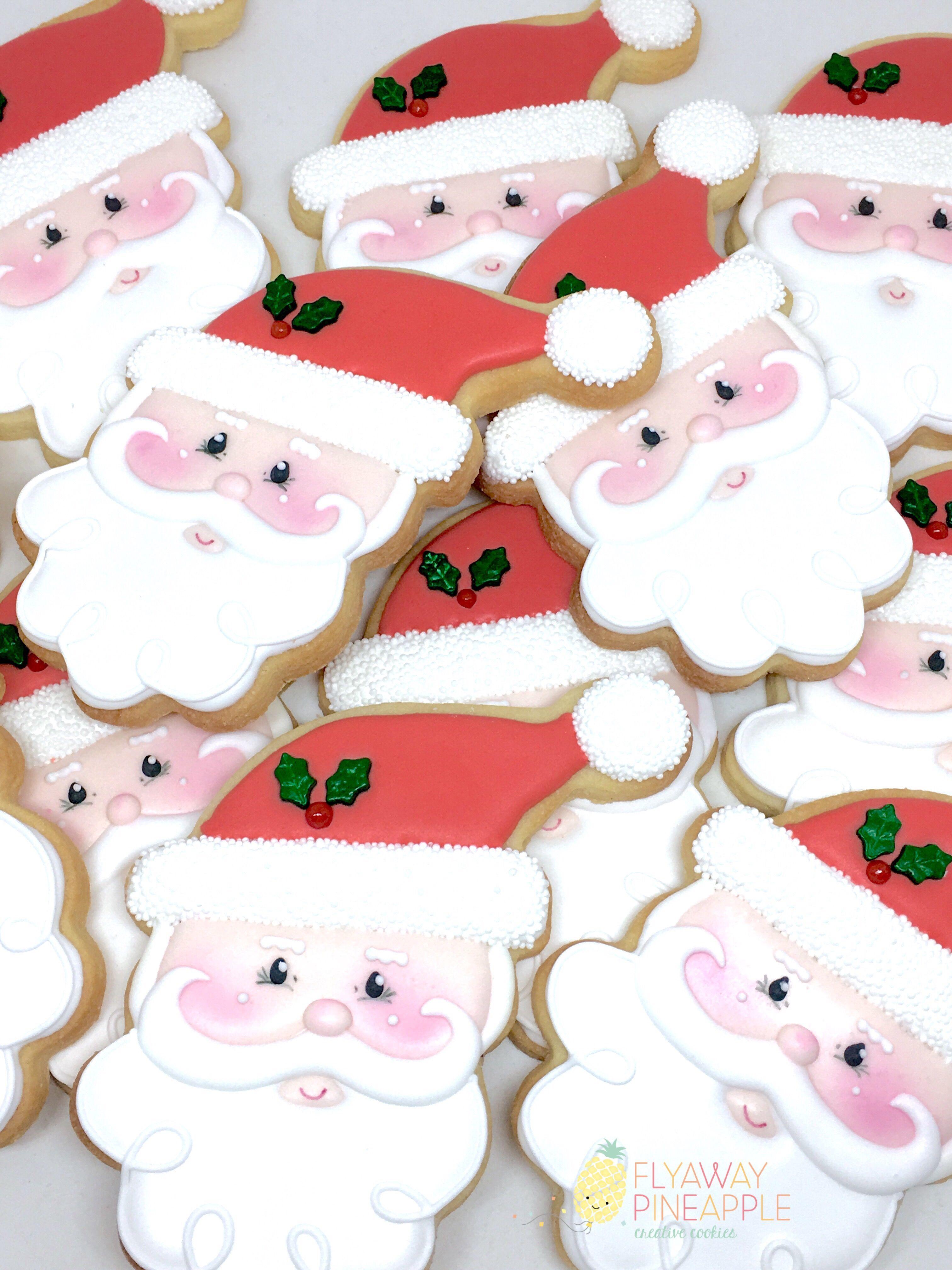 Santa Cookies Christmas Cookies Seasonal Cookies Father Christmas