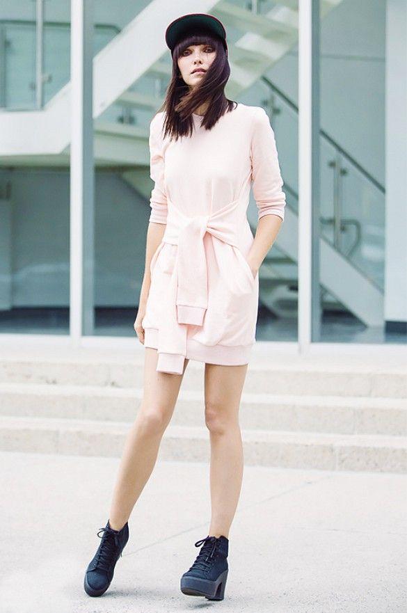 f0f386106654a9 Ania Boniecka of Ania B puts a feminine spin on the t-shirt meets  sweatshirt dress     StreetStyle  Fashion