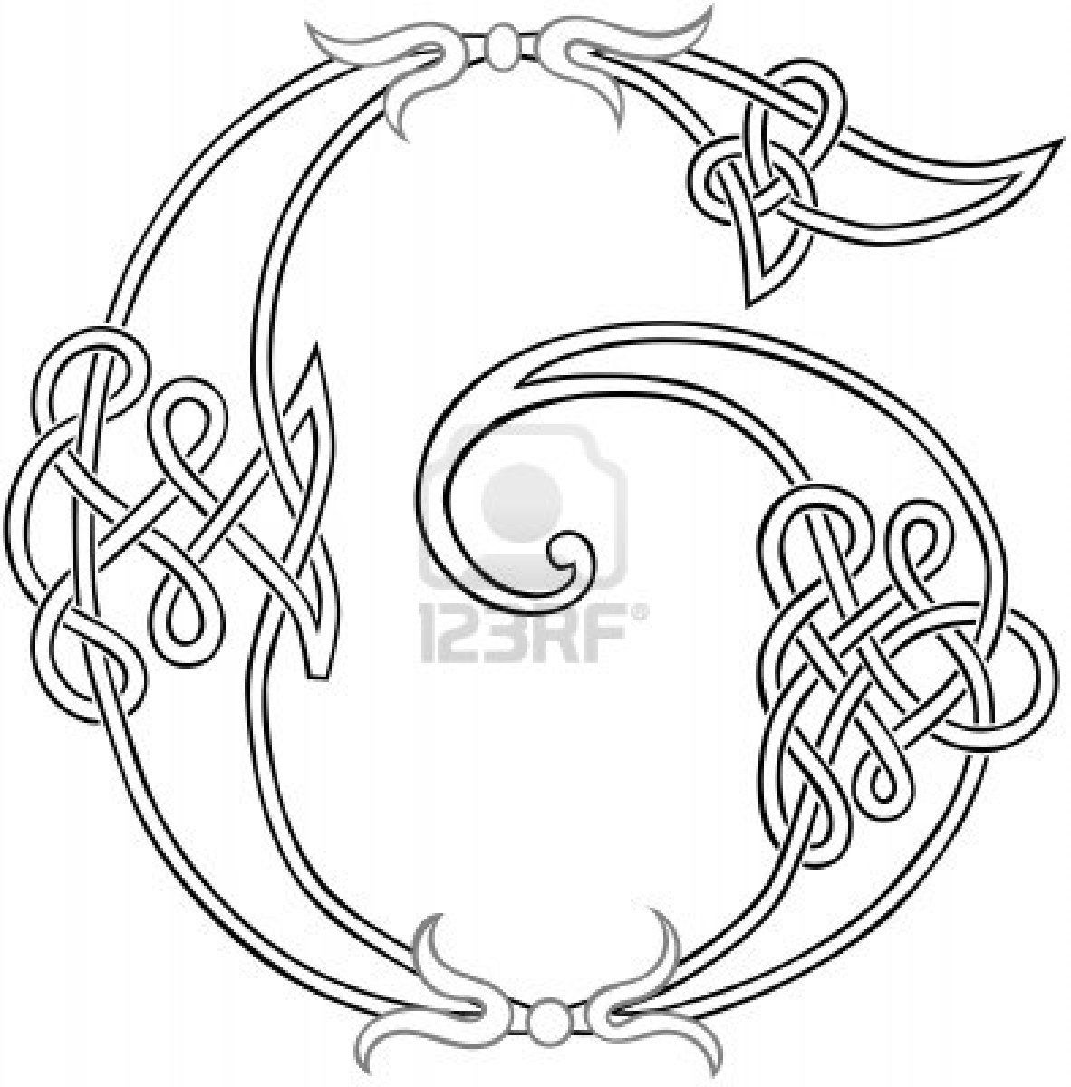 A Celtic Knot-work Capital Letter G Stylized Outline Stock Photo ...