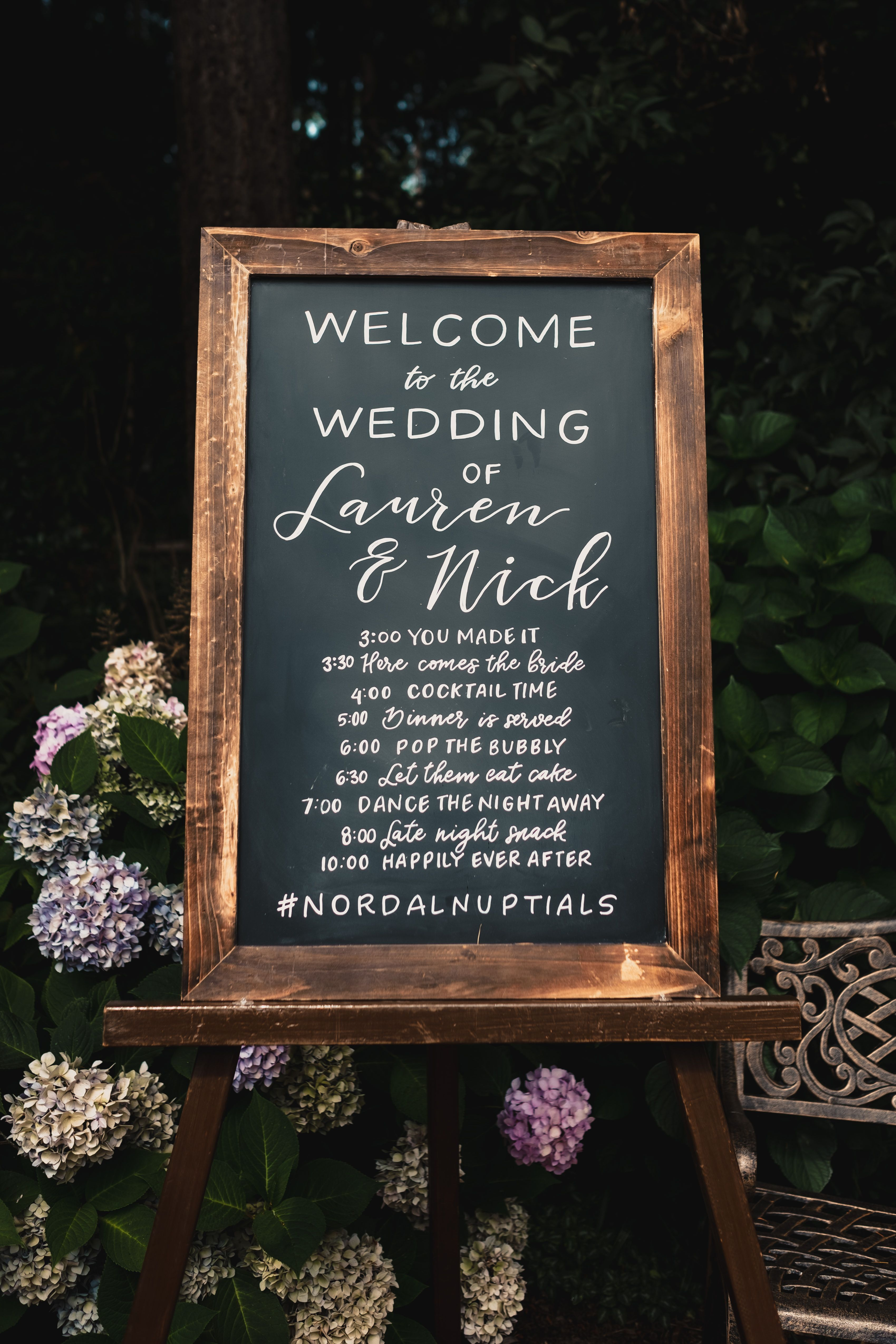 Chalkboard timeline in the garden at Fireseed Catering on