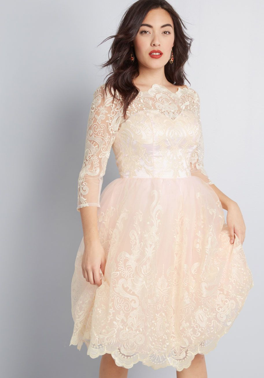 Chi chi london gilded grace lace dress in blush in