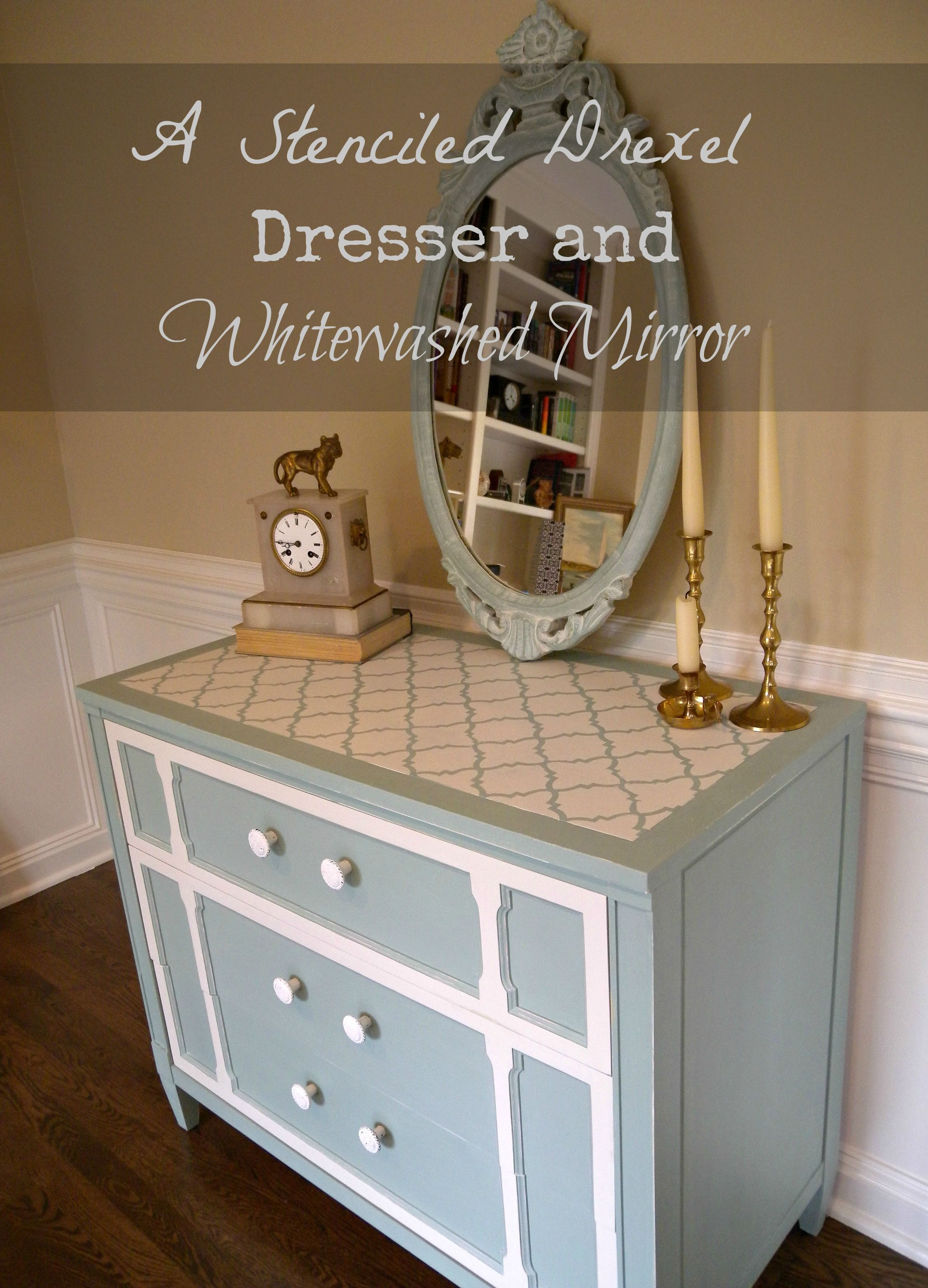 drexel bedroom set%0A Clockworkinteriors com  A Stenciled Drexel Dresser and Whitewashed Mirror  updated with chalk paint and arabesque mirror   Pinterest   Dresser