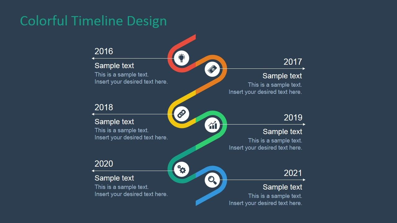 Colorful Timeline Design For Powerpoint  Timeline Design