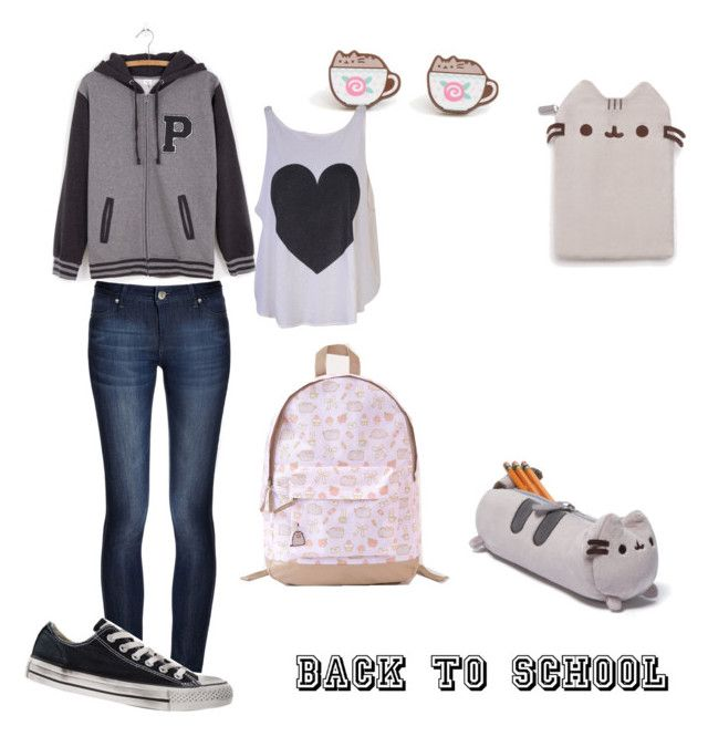 """""""#PVxPusheen"""" by chibi-shinigami ❤ liked on Polyvore featuring Pusheen, Wildfox, DL1961 Premium Denim, Converse, contestentry and PVxPusheen"""