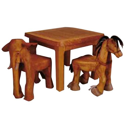 hand carved animals table and chair set