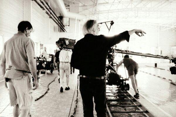 Michael Haneke on the set of Cache