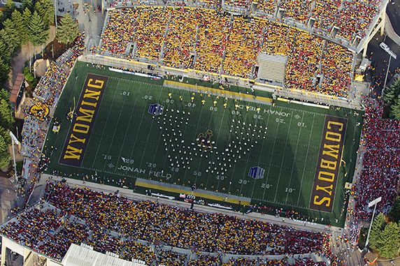 The Awesome University Of Wyoming Marching Band In Action On Game