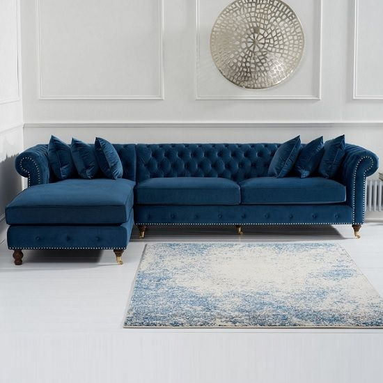 Nesta Chesterfield Left Corner Sofa In Blue Velvet Corner Sofa Living Room Living Room Decor Blue Sofa Living Room Sofa Design