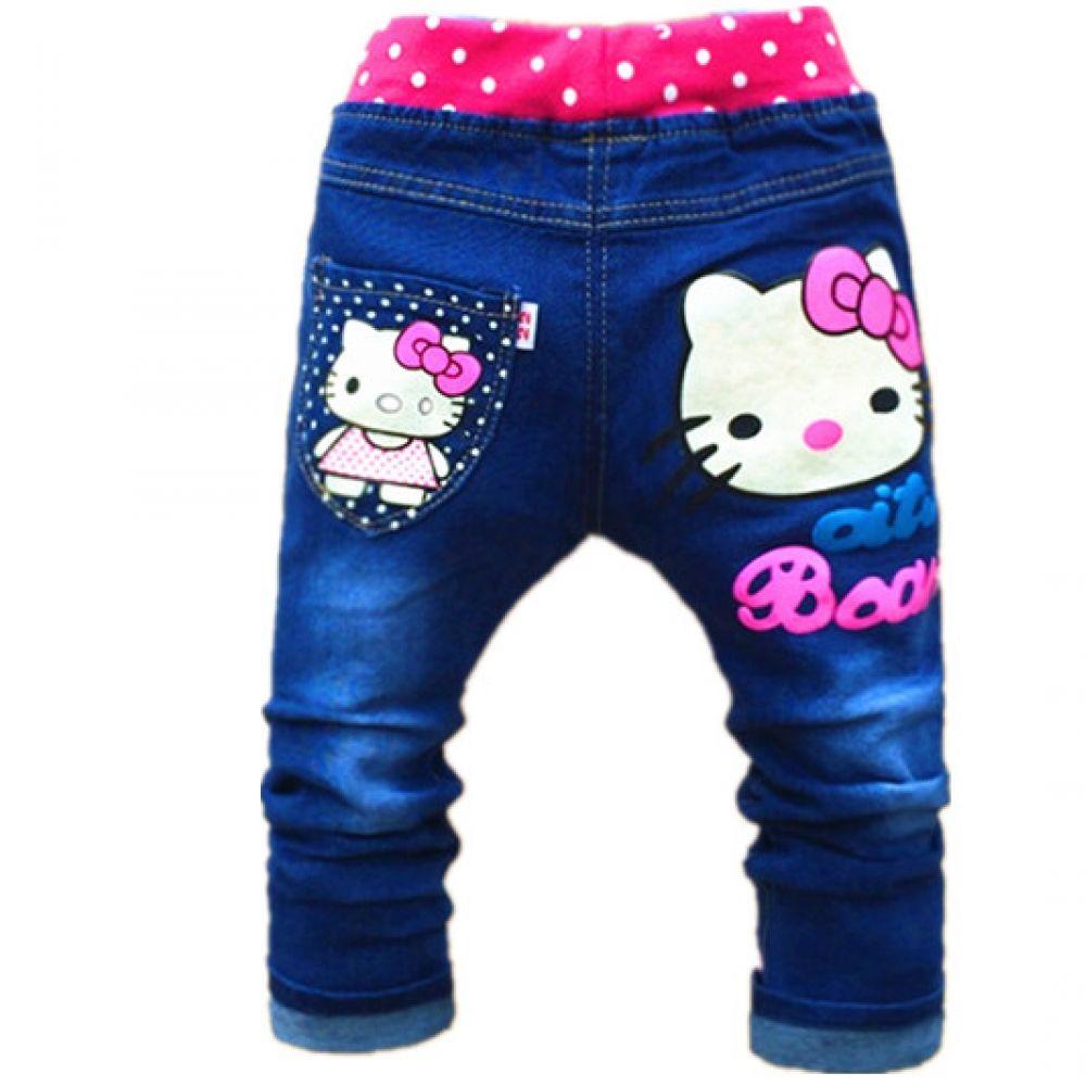 56a52c579 Free shipping korean children's clothing hello kitty girls jeans for kids  2-5years Children Pants Girls Jeans Pants Price: 15.79 & FREE Shipping # ...