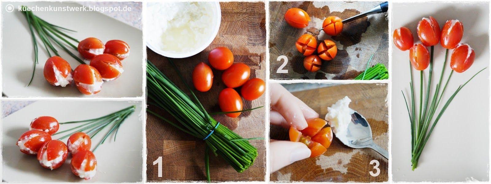 Küchenkunstwerk: Deko mit Gemüse - Tomatentulpen