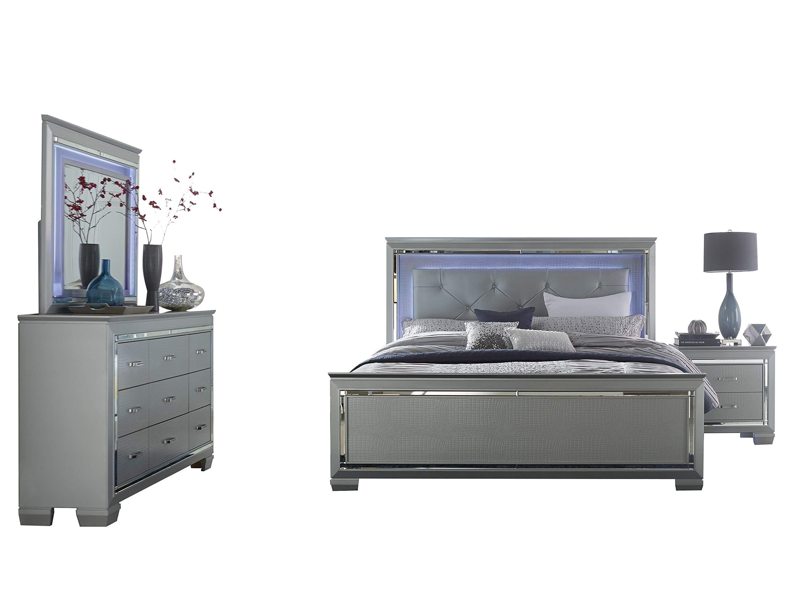 Algiers 4pc Bedroom Set E King Led Bed Dresser Mirror Nightstand In Silver Alligator Embossed Make Certain To King Bedroom Sets Led Beds Bedroom Sets Queen