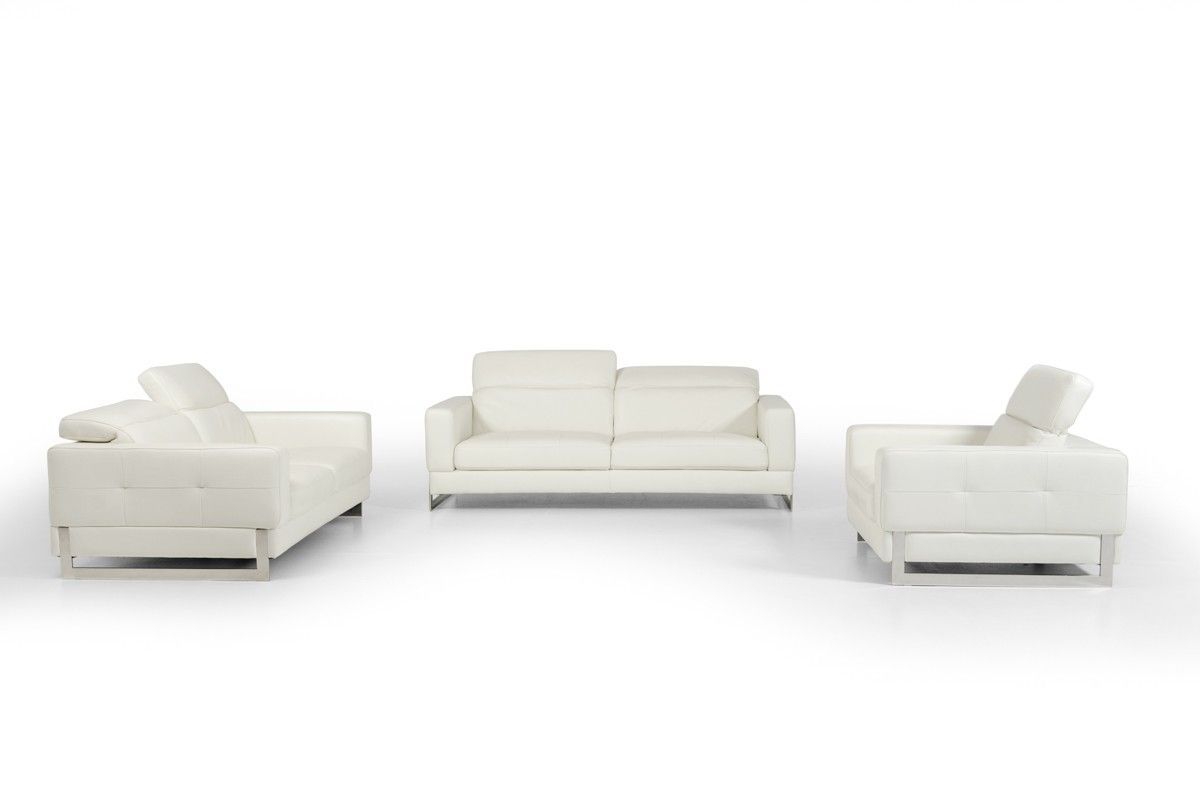 White Genuine Leather Contemporary Sofa Set Is Comprised Of A Sofa