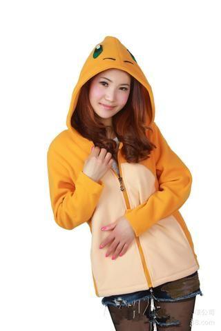 Unisex Women Men Pokemon Charmander Cosplay Costume Zip Hooded Sweatshirt 955ae4eaeb
