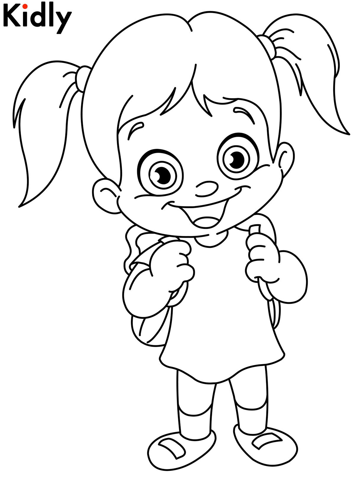 Happy girl coloring pages download and print for free ...