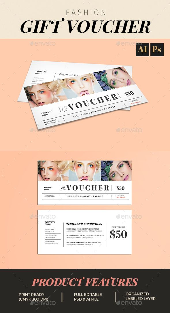 Fashion Gift Voucher Ai illustrator, Template and Print templates - new restaurant gift certificate template free download