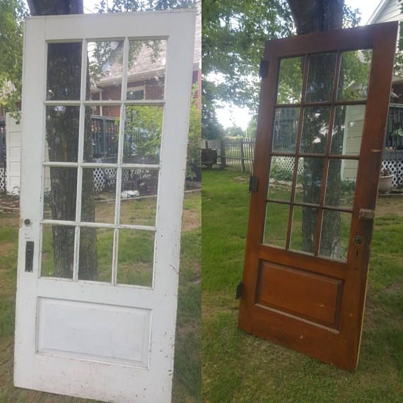 Exterior Old Wood Door 12 Pane Window Architectural Salvage Window Door Original Hardware Remodel Reclai Wood Exterior Door Old Wood Doors Exterior Doors