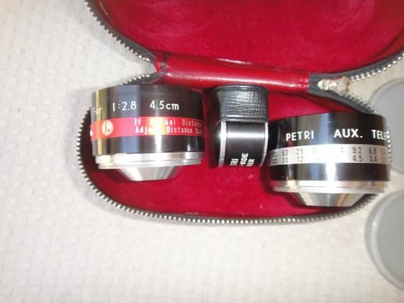 Petri Wide Angle Lens, Aux Telephoto&tele wide finder 1:2.8 45mm and case #wideangle