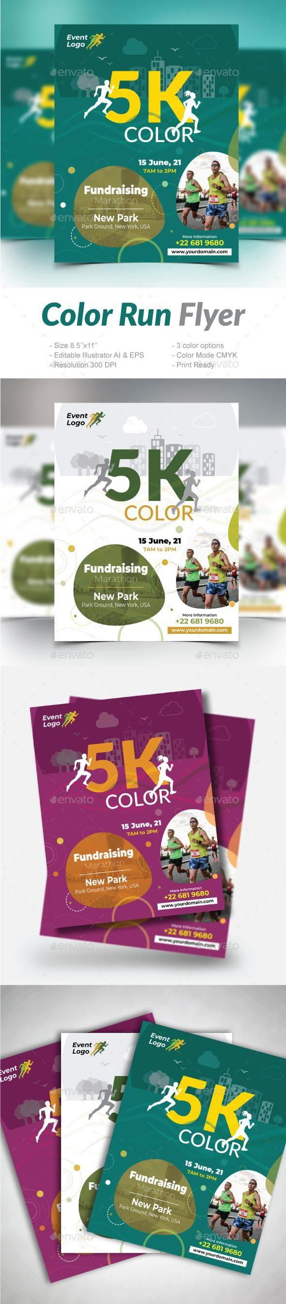 color run flyer envato market flyer flyertemplate printdesign
