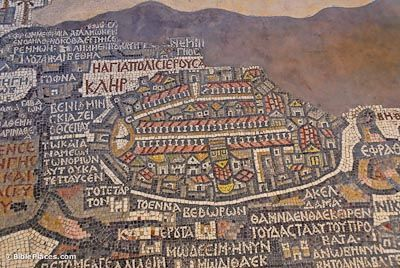 Medeba Map A 6th century church floor in Medeba, Jordan has a mosaic map of the land of Israel with numerous place names in Greek. The center of the map is an open-faced depiction of Jerusalem with the city walls, gates, churches (with red