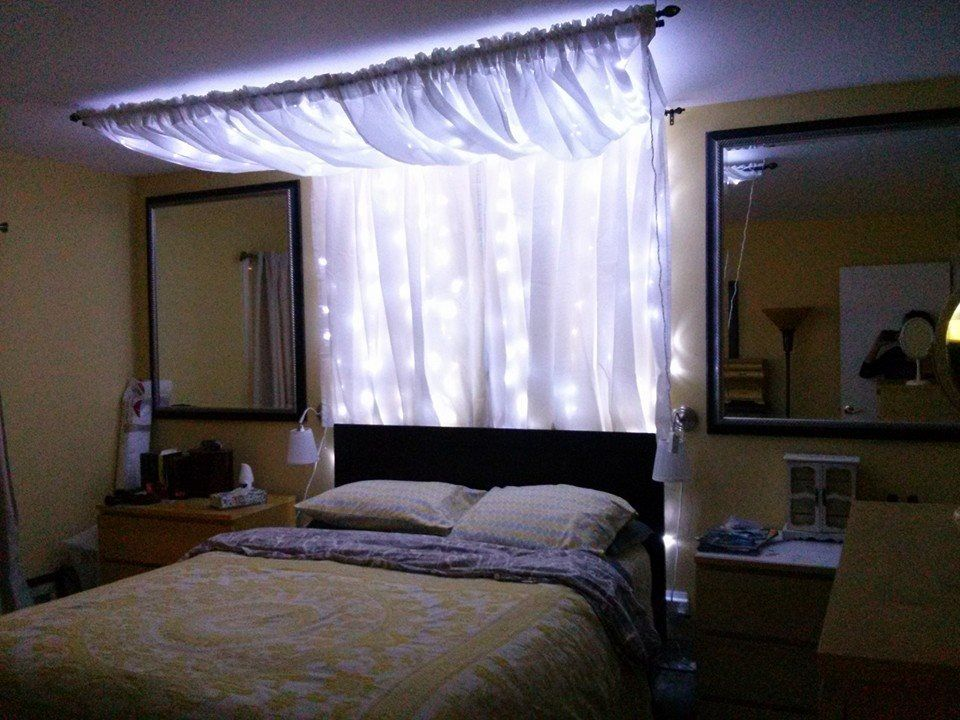 Combined bed canopy light curtain ideas and made a light - Canopy bed curtain ideas ...