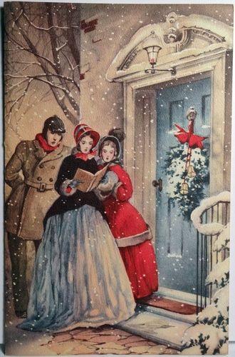 Vintage carolers illustration