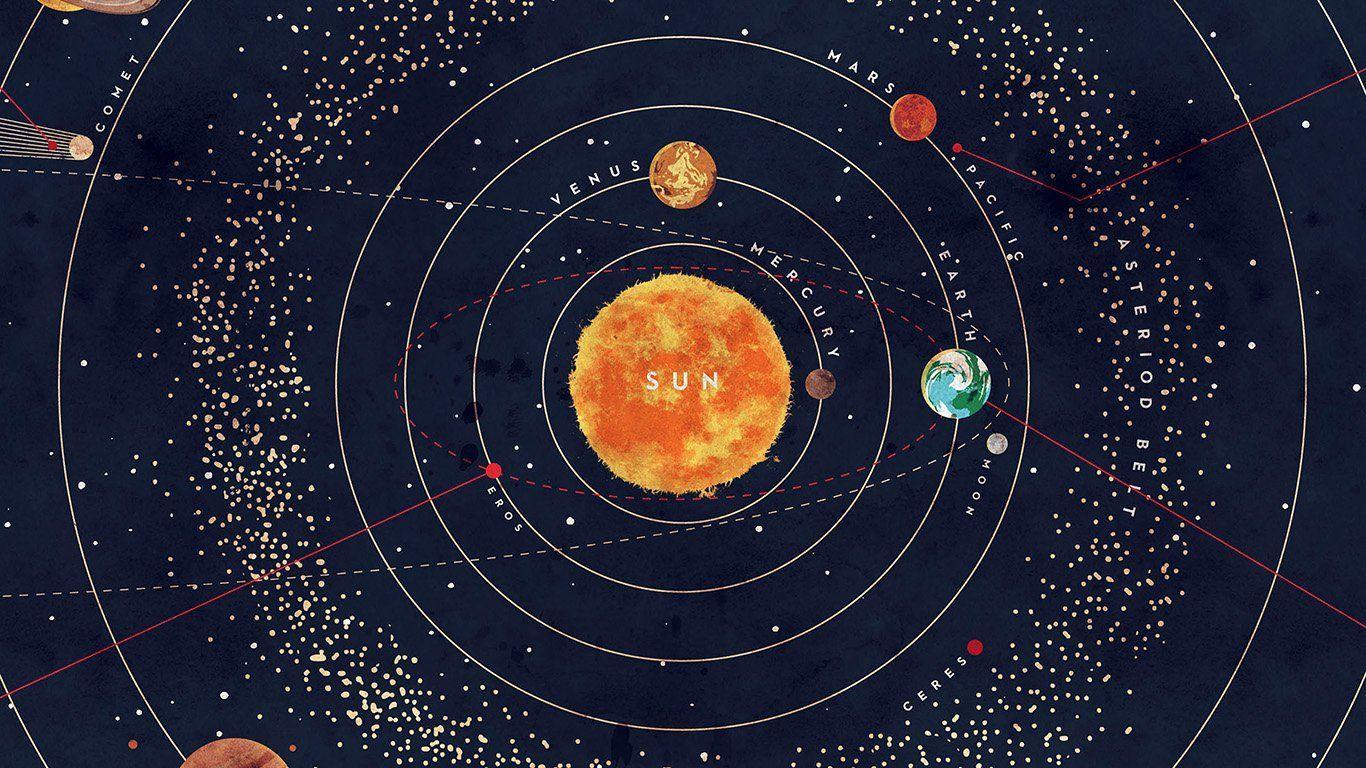 Ar63 Solar Sistema Espacio Art Tapa Rojo Azul In 2020 Desktop Wallpaper Art System Wallpaper Solar System Wallpaper