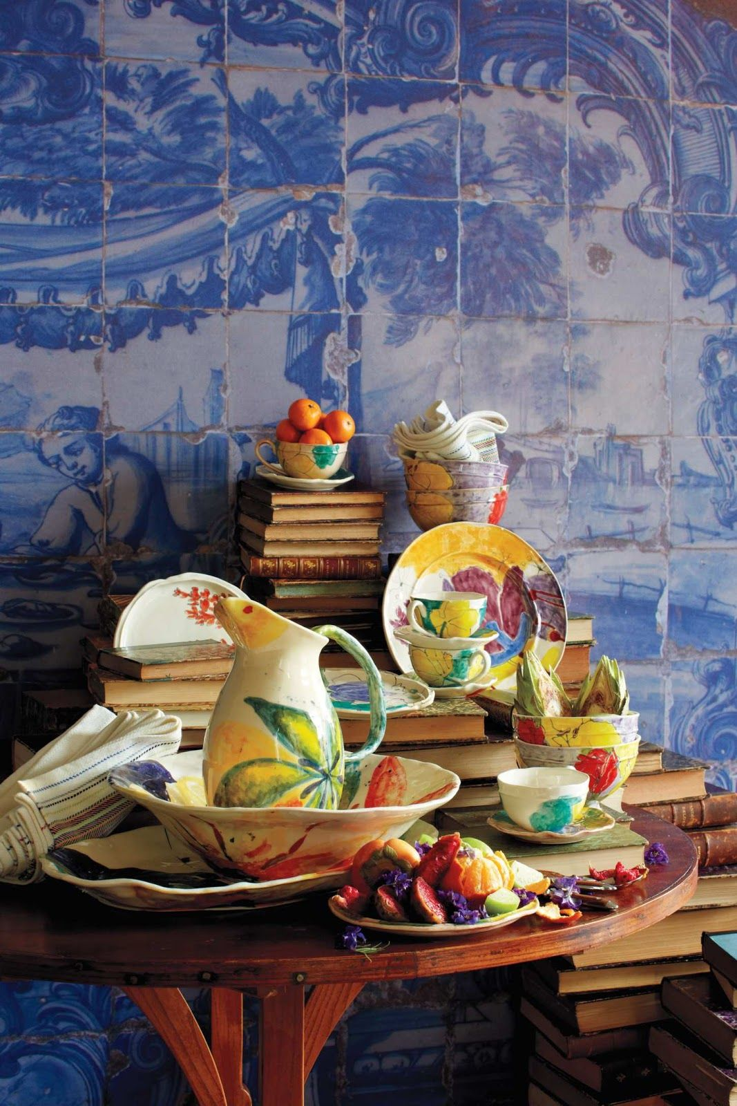 colorful display of books and dishes
