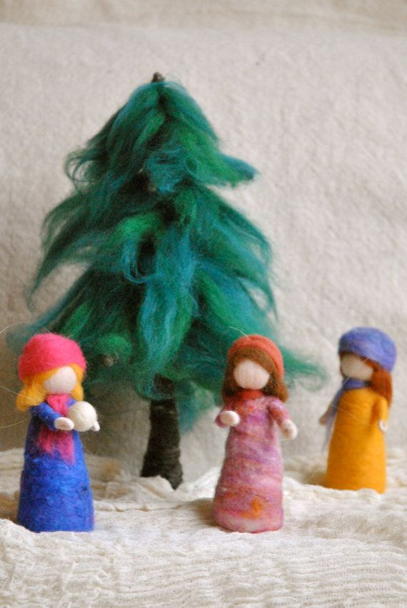 Waldorf+inspired+needle+felted+doll++girl+by+MagicWool+on+Etsy,+$23.00