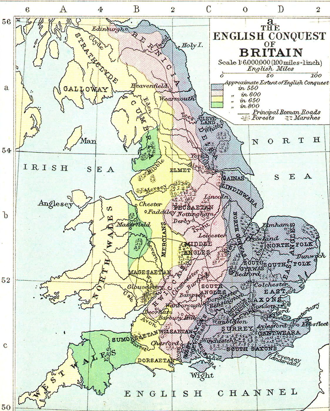 Map Of The Anglo Saxon Conquest Of Britain And The Anglo