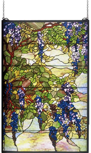 Meyda Tiffany 51338 Wisteria & Snowball Stained Glass Art - MEY-51338