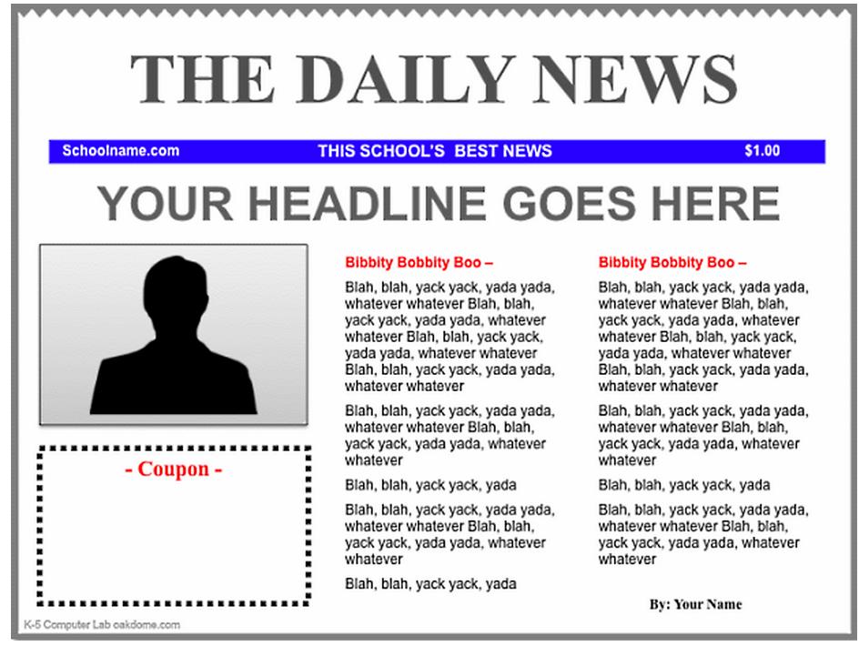 3 Good Ipad Newspaper Templates For Teachers Newspaper Template Newspaper Article Template Newsletter Templates