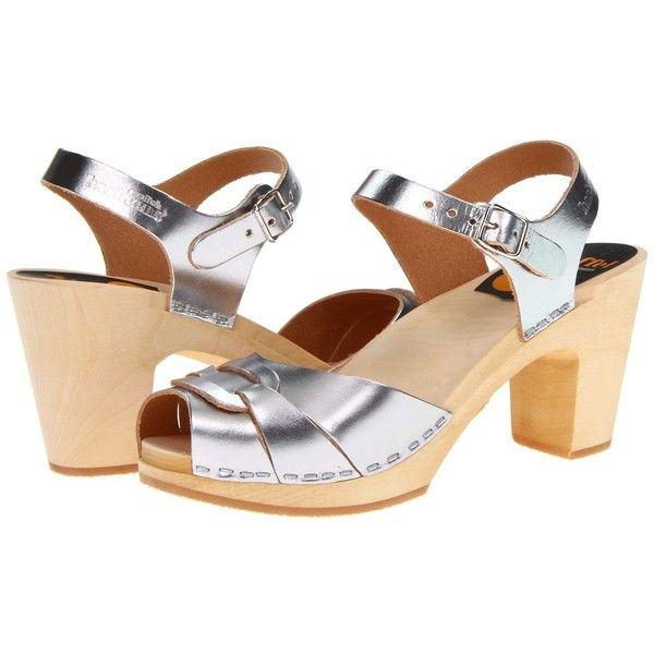 Swedish Hasbeens Peep Toe Super High Women's Sandals ($249) ❤ liked on Polyvore featuring shoes, sandals, clogs & mules, silver, platform mules, peep-toe mules, clog sandals, ankle wrap sandals and peep toe mules