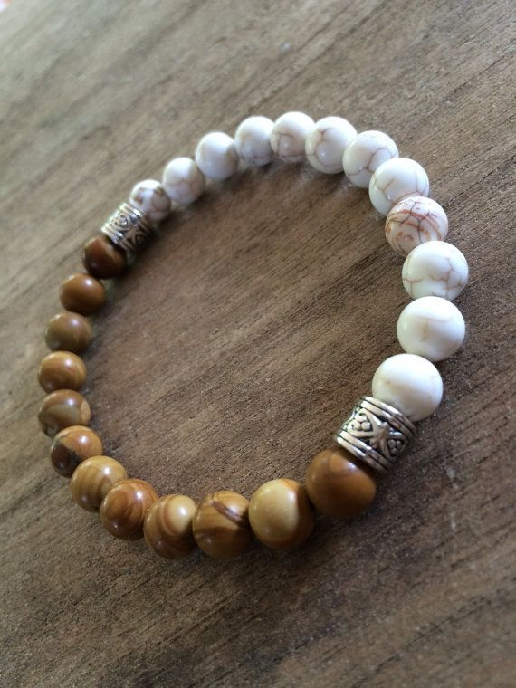 Mens White Howlite and Jasper Bead Bracelet with Silver Accents